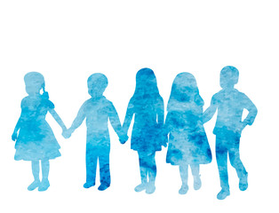 vector, isolated, kids, blue watercolor silhouette