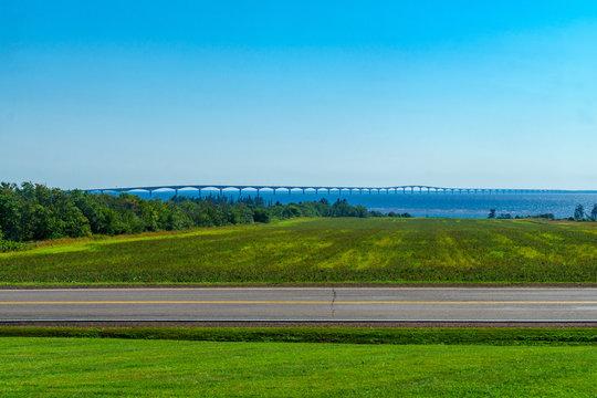 Countryside and the Confederation Bridge, PEI