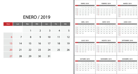 Calendar 2019 week start on Sunday.