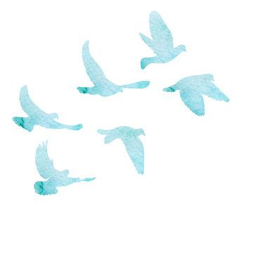 flock of birds flies, blue watercolor silhouette