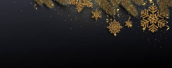 Black festive banner with fir branches and golden shiny snowflakes.