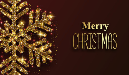 Merry Christmas festive poster with golden shiny snowflake.