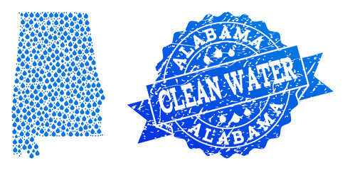 Map of Alabama State vector mosaic and clean water grunge stamp. Map of Alabama State created with blue liquid drops. Seal with grunge rubber texture for clean drinking water.