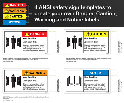 ANSI safety sign template to create your own Danger, Caution, Warning and Notice labels