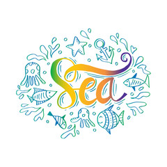 Hand Drawn  illustration with sea decoration elements and text  Sea