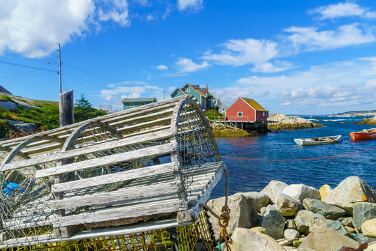 Lobster traps in the fishing village Peggys Cove