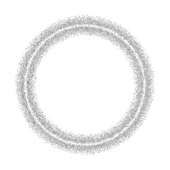 Silver circle glitter frame. Gray confetti dots round on white background. Bright texture pattern for Christmas celebration party, New Year card. Glow border. Abstract design. Vector illustration