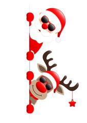 Santa & Rudolph Sunglasses On Top Star Banner