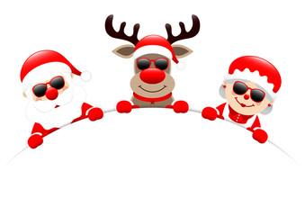 Santa, Rudolph & Mrs. Santa Sunglasses Round Banner