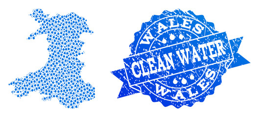 Map of Wales vector mosaic and clean water grunge stamp. Map of Wales formed with blue water tears. Seal with grunge rubber texture for clear drinking water.