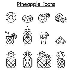 Pineapple icon set in thin line style
