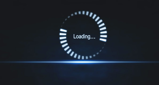 Loading symbol on blue light background. Business concept