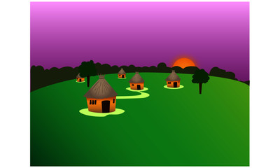 Aluminium Prints Green african village landscape with huts
