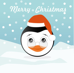 Merry Christmas vector card with funny Penguin.