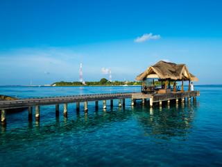Maldives island with jetty, Rsadoo Atoll, Indian Ocean, Maldives