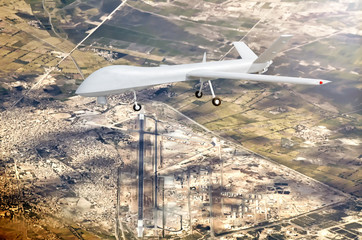modern military strike combat unmanned air vehicle UAV airplane reconnaissance spy drone powered by prop engine flying over airport scenery background exterior panoramic air travel landscape view