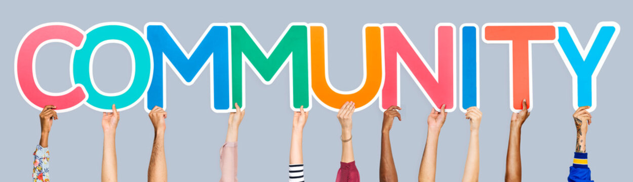 Colorful letters forming the word community