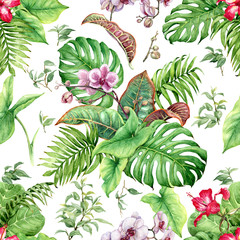 Watercolor Tropical Leaves and Flowers Seamless Pattern