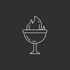 Goblet of Fire. Magic vector icon.