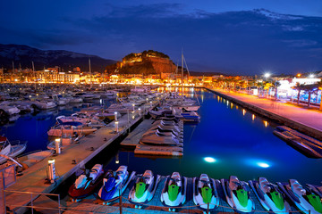 Denia sunset castle and marina at Alicante