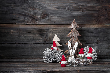 XMAS decoration on grunchy wooden background