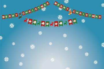 イラスト素材:クリスマスのイメージのパーティーフラッグ・三角旗|Party Flag