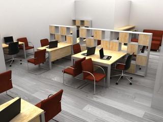 office, interior visualization, 3D illustration