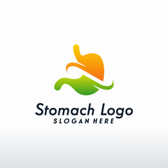 Modern Stomach logo designs vector with swoosh, Health Stomach logo template
