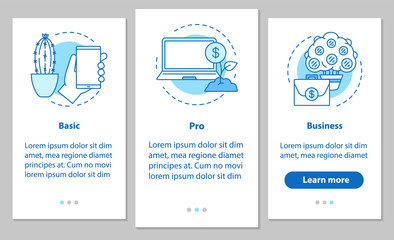 Business development onboarding mobile app page screen with line
