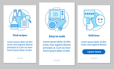 Food cooking onboarding mobile app page screen with linear conce