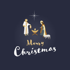 Christmas time. Nativity scene with Mary, Joseph and baby Jesus. Text : Merry Christmas