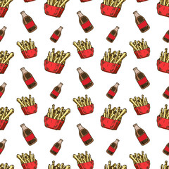 Seamless pattern hand drawn colorful cola and French fries. Doodle black sketch. Sign symbol. Decoration element. Isolated on white background. Flat design. Vector illustration