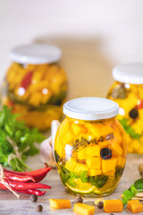 Marinated preserving pumpkin in jars. Fermented food
