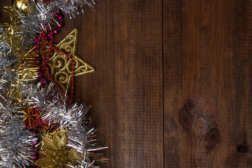 Winter background with ornaments, Christmas decorations on wooden table.