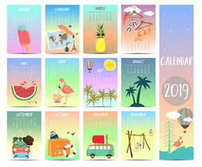 Doodle calendar set 2019 with beach,sea,flamingo,pineapple,watermelon for children.Can be used for printable graphic