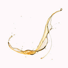 Olive or engine oil splash, cosmetic serum liquid isolated on white background.