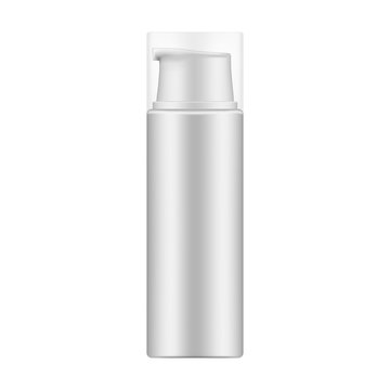Cosmetic bottle with dispenser for foam texture products, mock-up
