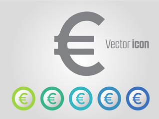 Euro vector icons and different color variations