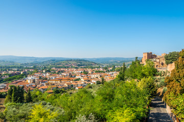 View at the lower town of Certaldo in Countryside of Italian Tuscany