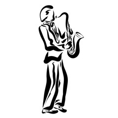 Playing the saxophone, sensual music, young man