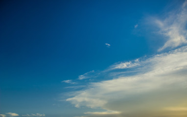 Vivid blue sky with clouds background nature landscape in summer clear weather time. copy space