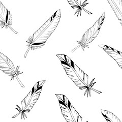 Repeating ornament with feathers of birds