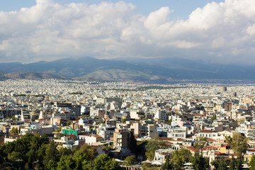 overcrowded south Mediterranean district city buildings and mountain horizon background nature landscape in clear weather time