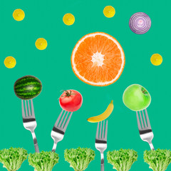 vegetables and fruits on fork Top view Composition of tomatoes, apples, banana, lemon and orange, watermelon on mint green background