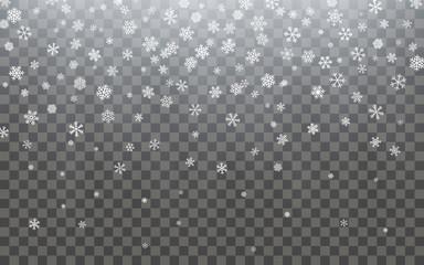 Christmas snow. Falling snowflakes on dark background. Snowflake transparent decoration effect. Xmas snow flake pattern. Magic white snowfall texture. Winter snowstorm backdrop illustration