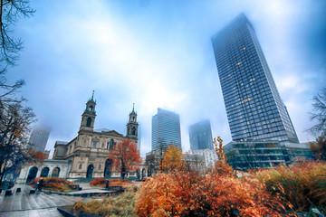 WARSAW, POLAND - NOVEMBER 3, 2018: Grzybowski Square is a triangular square in the downtown district of Warsaw, Poland, between Twarda, Bagno, Grzybowska and Krolewska streets.