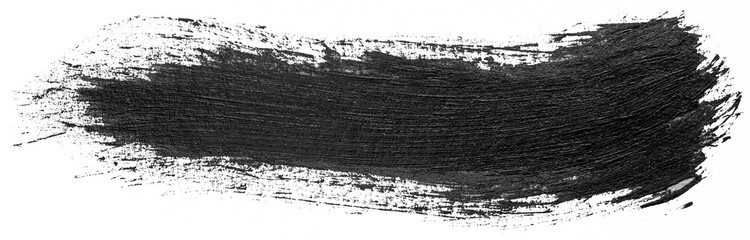 Long hand drawn isolated paintbrush stripe with dirty black color ink. Splatter Paint Texture. Distress rough background. Scratch, Grain, Noise rectangle stamp.