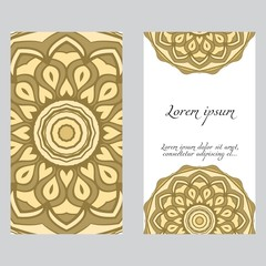Vintage cards with Floral mandala pattern. Vector template. The front and rear side