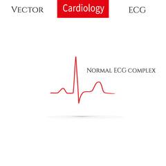 Electrocardiogram, ecg line. Normal ECG complex. Normal heart rhythm.
