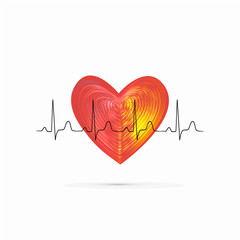 Red shiny heart with ecg line isolated on the white background. Healthcare and medicine concept.